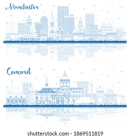 Outline Concord and Manchester New Hampshire City Skyline Set with Blue Buildings and Reflections.