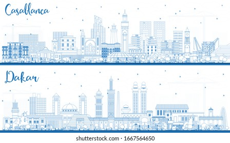 Outline Dakar Senegal and Casablanca Morocco City Skyline with Blue Buildings. Business Travel and Tourism Concept with Historic Architecture. Cityscapes with Landmarks.