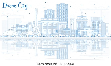 Outline Davao City Philippines Skyline with Blue Buildings and Reflections. Business Travel and Tourism Illustration with Modern Architecture. Davao City Cityscape with Landmarks.