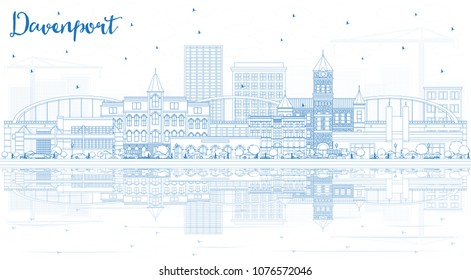 Outline Davenport Iowa Skyline with Blue Buildings and Reflections. Business Travel and Tourism Illustration with Historic Architecture. Davenport Cityscape with Landmarks.