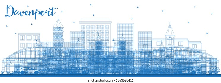 Outline Davenport Iowa Skyline with Blue Buildings. Business Travel and Tourism Illustration with Historic Architecture.
