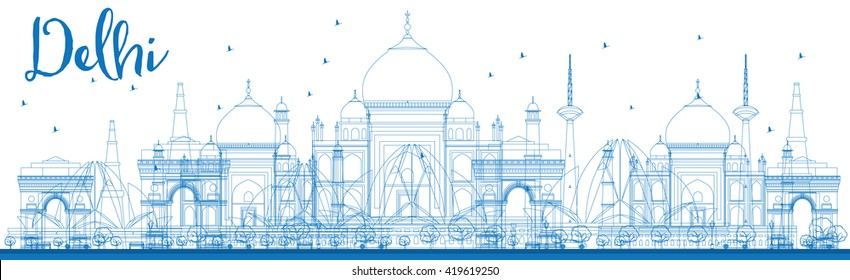 Outline Delhi skyline with blue landmarks. Business travel and tourism concept with historic buildings. Image for presentation, banner, placard and web site.