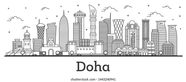 Outline Doha Qatar City Skyline with Modern Buildings Isolated on White. Doha Cityscape with Landmarks.