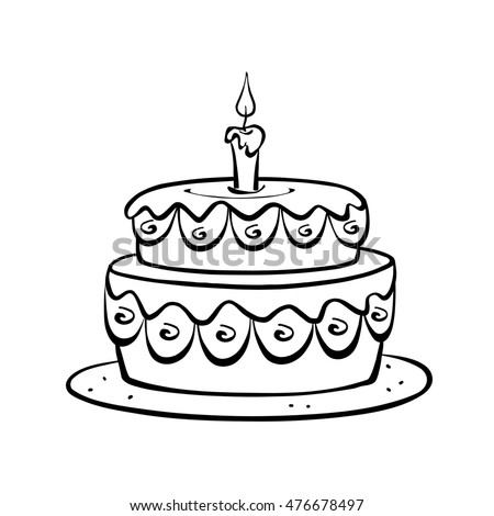 Outline Drawing Decorated Birthday Cake 1 Stock Illustration