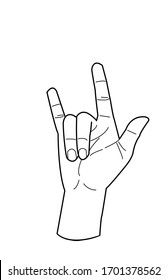 Outline drawing of hand love sign for coloring book,Horns hand,
