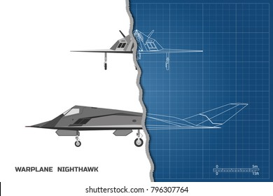 Outline drawing of plane on a blue background. Industrial blueprint of military airplane. Side and front view. Stealth warplane