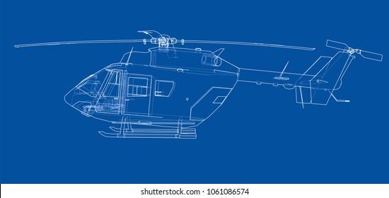 Outline drawing or sketch of helicopter. 3d illustration