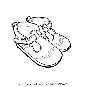 Outline drawing of summer sandals for little kids