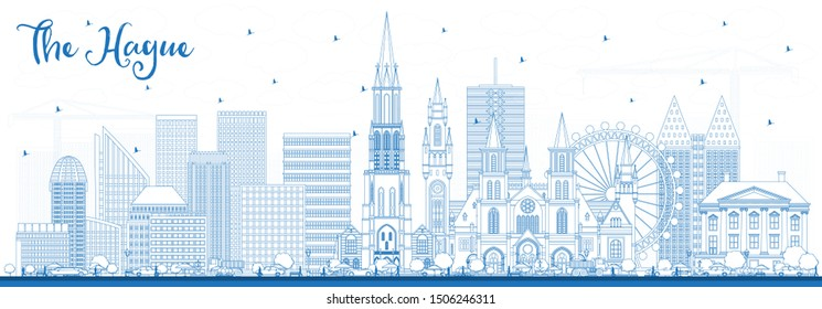 Outline The Hague Netherlands City Skyline with Blue Buildings. Business Travel and Tourism Concept with Historic Architecture. Hague Cityscape with Landmarks.