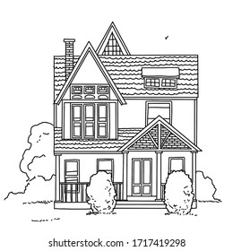 Outline of a house for coloring