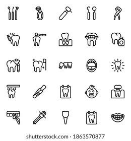 Outline icons set dental medical.