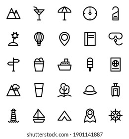 Outline icons for summer holiday beach tourism travel.