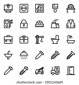 Outline icons for tools and construction.