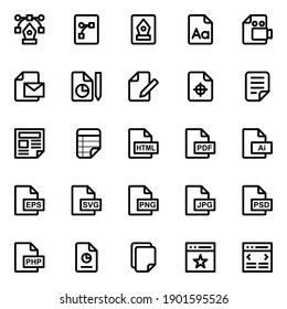 Outline icons for web design and development.