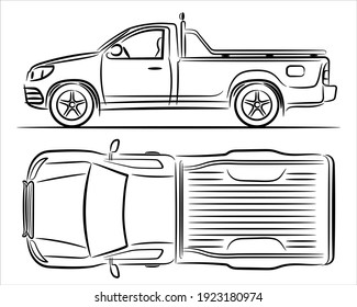 Outline illustration pickup truck, abstract silhouette on white background. Vehicle icons  set view from side and top. A hand drawn raster line art.