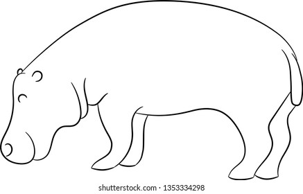 Outline image of a wild animal hippo. Hippo coloring