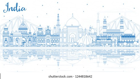 Outline India City Skyline with Blue Buildings and Reflections. Delhi. Hyderabad. Kolkata. Travel and Tourism Concept with Historic Architecture. India Cityscape with Landmarks.