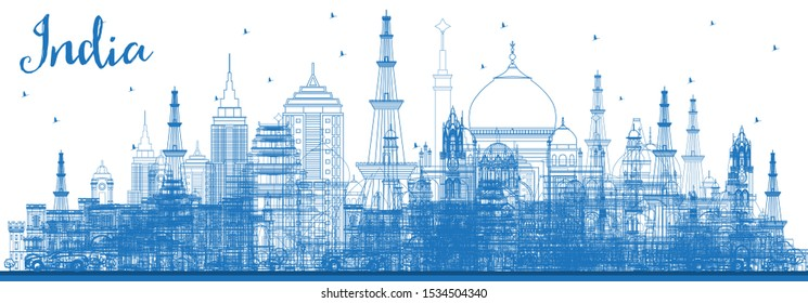 Outline India City Skyline with Blue Buildings. Delhi. Mumbai, Bangalore, Chennai. Business Travel and Tourism Concept with Historic Architecture. India Cityscape with Landmarks.