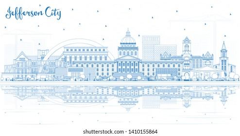 Outline Jefferson City Missouri Skyline with Blue Buildings and Reflections. Business Travel and Tourism Concept with Historic Architecture. Jefferson City Cityscape with Landmarks.