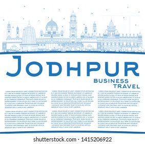 Outline Jodhpur India City Skyline with Blue Buildings and Copy Space. Business Travel and Concept with Historic Architecture. Jodhpur Cityscape with Landmarks.