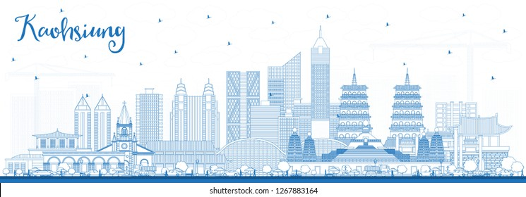 Outline Kaohsiung Taiwan City Skyline with Blue Buildings. Business Travel and Tourism Concept with Historic Architecture. Kaohsiung China Cityscape with Landmarks.