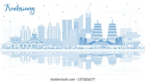 Outline Kaohsiung Taiwan City Skyline with Blue Buildings and Reflections. Travel and Tourism Concept with Historic Architecture. Kaohsiung China Cityscape with Landmarks.