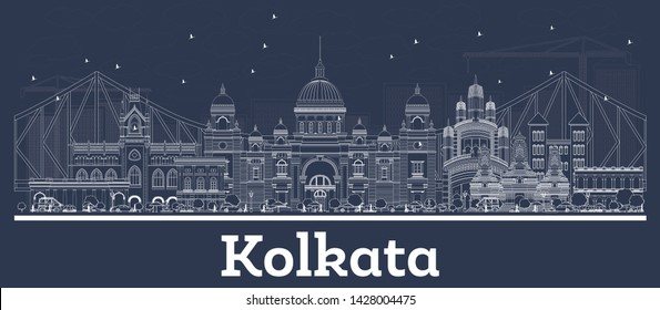 Outline Kolkata India City Skyline with White Buildings. Business Travel and Concept with Historic Architecture. Kolkata Cityscape with Landmarks.