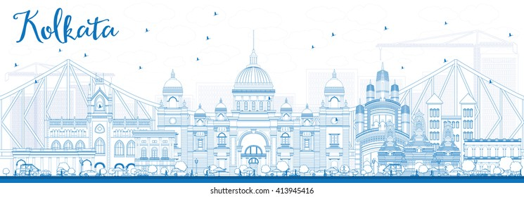 Outline Kolkata Skyline with Blue Landmarks. Business Travel and Tourism Concept with Historic Buildings. Image for Presentation Banner Placard and Web Site.