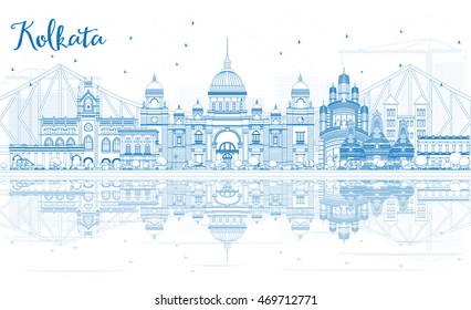 Outline Kolkata Skyline with Blue Landmarks and Reflections. Business Travel and Tourism Concept with Historic Buildings. Image for Presentation Banner Placard and Web Site.