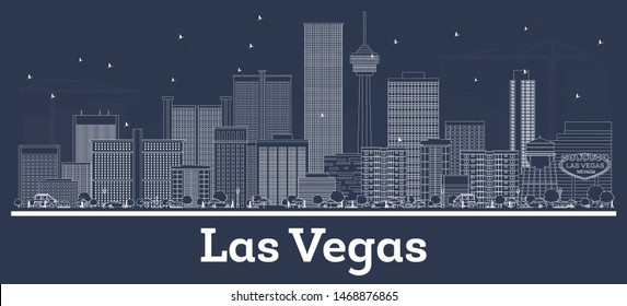 Outline Las Vegas Nevada City Skyline with White Buildings. Business Travel and Tourism Concept with Modern Architecture. Las VegasCityscape with Landmarks.