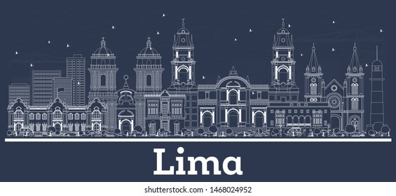 Outline Lima Peru City Skyline with White Buildings. Business Travel and Tourism Concept with Historic Architecture. Lima Cityscape with Landmarks.