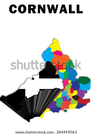 Map Of England Cornwall.Outline Map England Cornwall Raised Highlighted Stock Illustration