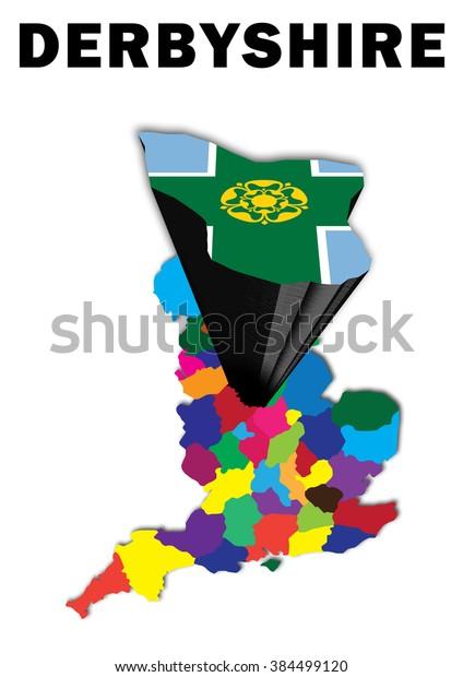 Map Of England Derbyshire.Outline Map England Derbyshire Raised Highlighted Stock Illustration