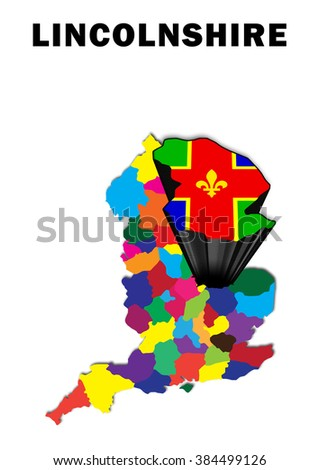 Map Of England Lincolnshire.Outline Map England Lincolnshire Raised Highlighted Stock