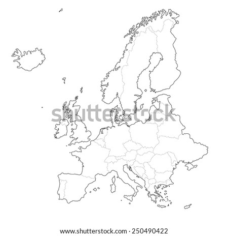 Outline Map Europe On White Background Stock Illustration 250490422