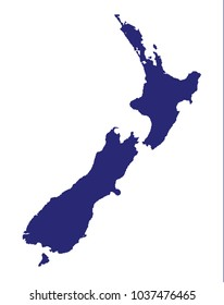 Outline map of New Zealand over a white background