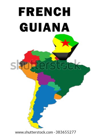 Outline Map South America French Guiana Stock Illustration 383655277