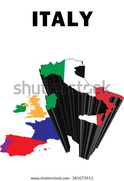 Map Of Europe With Italy Highlighted.Outline Map Western Europe Italy Raised Stock Illustration 385073911