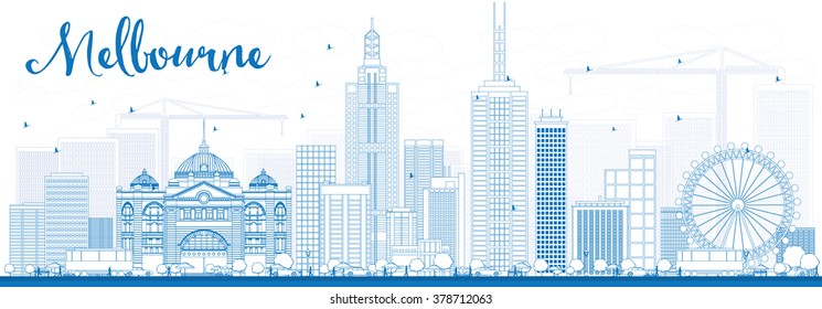 Outline Melbourne Skyline with Blue Buildings. Business Travel and Tourism Concept with Modern Buildings. Image for Presentation Banner Placard and Web Site.