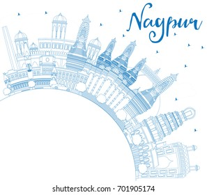 Outline Nagpur Skyline with Blue Buildings and Copy Space. Business Travel and Tourism Concept with Historic Architecture. Image for Presentation Banner Placard and Web Site.