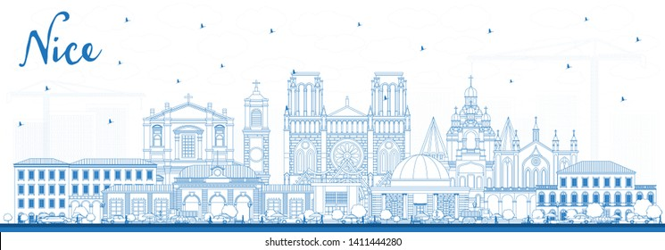Outline Nice France City Skyline with Blue Buildings. Business Travel and Concept with Historic Architecture. Nice Cityscape with Landmarks.