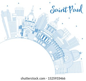 Outline Saint Paul Minnesota City Skyline with Blue Buildings and Copy Space. Business Travel and Tourism Concept with Modern Architecture. Saint Paul USA Cityscape with Landmarks