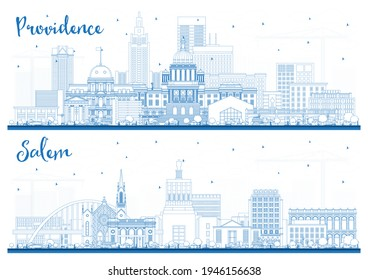 Outline Salem Oregon and Providence Rhode Island City Skyline Set with Blue Buildings. Cityscape with Landmarks.
