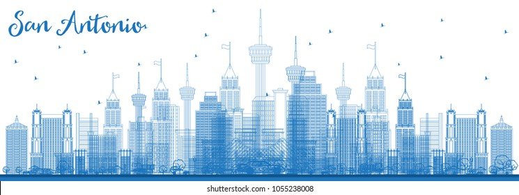 Outline San Antonio USA City Skyline with Blue Buildings. Business Travel and Tourism Concept with Modern Architecture. San Antonio Cityscape with Landmarks.