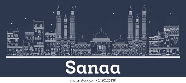 Outline Sanaa Yemen City Skyline with White Buildings. Business Travel and Concept with Modern Architecture. Sanaa Cityscape with Landmarks.