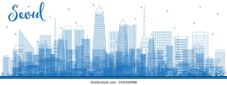 Outline Seoul Korea Skyline with Blue Buildings. Business Travel and Tourism Concept with Modern Architecture. Seoul Cityscape with Landmarks.