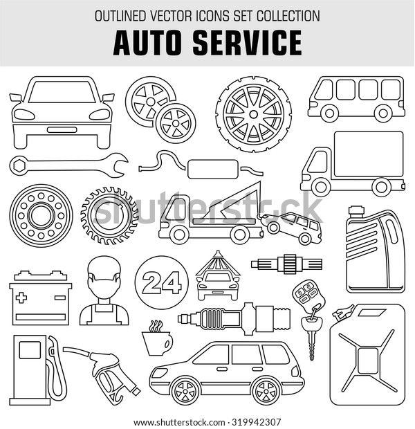 Outline set auto service icons. Raster illustration