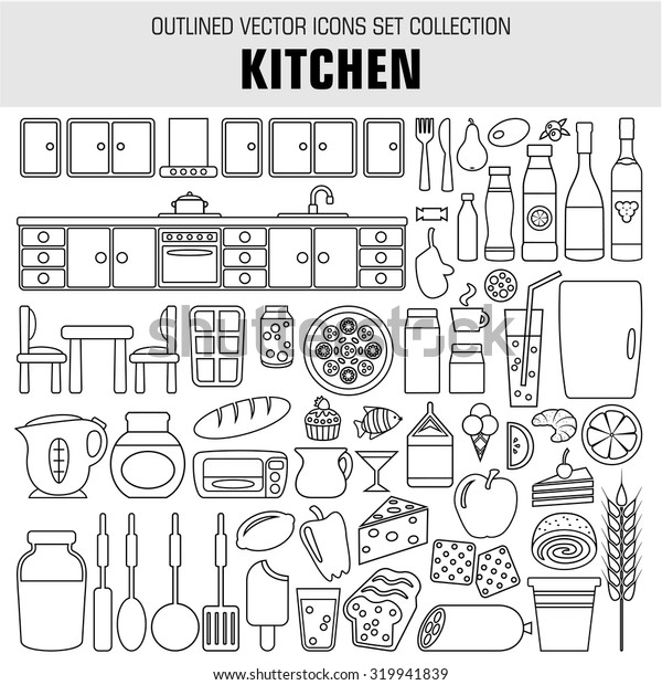 Outline set cooking and food icons. Raster illustration