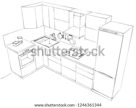 Outline Sketch 3 D Drawing Modern Lshaped Stock Illustration