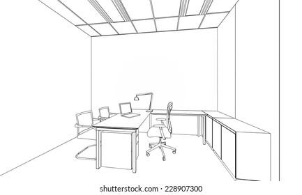outline sketch of a interior space